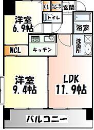 仙台市営南北線 勾当台公園駅 徒歩3分の賃貸マンション 12階2LDKの間取り
