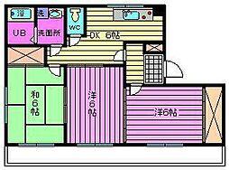 ヴィレッジ北栄[3階]の間取り