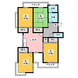 稲駅マンション[4階]の間取り
