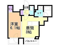 ラ・クラッセ札幌大通ウエスト 9階1LDKの間取り