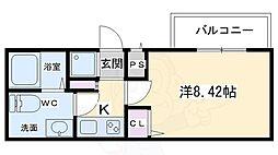 キャンバスKM 2階1Kの間取り