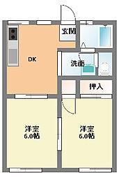 メゾンクレールA[1階]の間取り