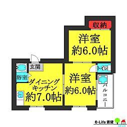 大和川パピレス[2階]の間取り