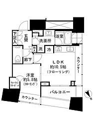 ザ・パークハウス三軒茶屋タワー 15階1LDKの間取り