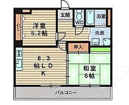 兵庫県尼崎市東園田町5丁目の賃貸マンションの間取り