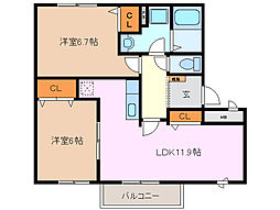 三重県四日市市羽津町の賃貸アパートの間取り