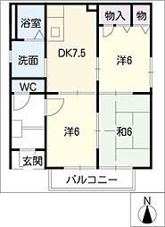 メゾンデール小田井II[1階]の間取り