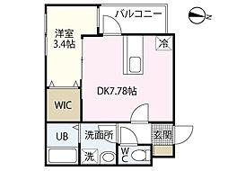 セブンプロート江波二本松2丁目 2階1DKの間取り