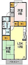 愛媛県松山市東野1丁目の賃貸アパートの間取り
