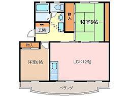 三重県松阪市久保町の賃貸マンションの間取り