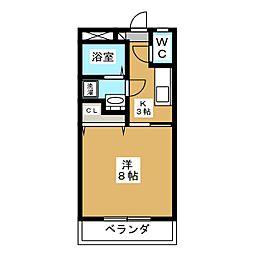下東野コーポI 1階1Kの間取り