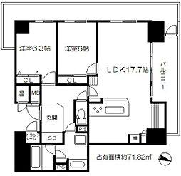 ライオンズマンション大阪スカイタワー 10階2LDKの間取り