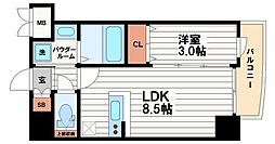 ステージグランデ堺筋本町[3階]の間取り