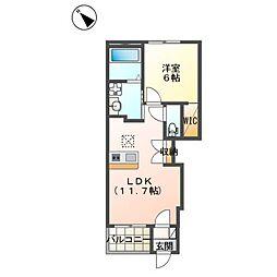仮)阿見町よしわらペット可新築アパート 1階1LDKの間取り