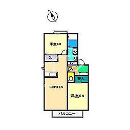 ラ・ベルターナ2 A棟[2階]の間取り