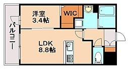 JR鹿児島本線 春日駅 徒歩3分の賃貸マンション 2階1LDKの間取り