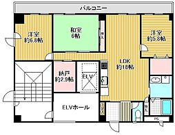 エクセラージュ夙川[5階]の間取り