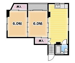 パールマンション 3階2DKの間取り