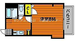 JR山陽本線 西川原駅 徒歩10分の賃貸マンション 2階1Kの間取り
