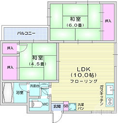 JR仙山線 東照宮駅 徒歩13分の賃貸マンション 2階2LDKの間取り