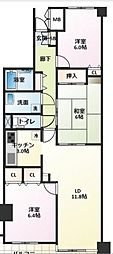 キャッスル新検見川[304号室]の間取り