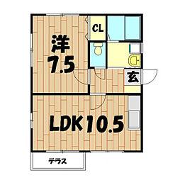 イーストB(中屋敷)[101号室]の間取り