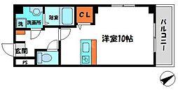 三和ハイツ萱島II 4階ワンルームの間取り