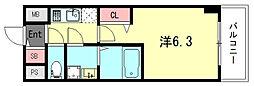 エスリードザ・ランドマーク神戸 12階1Kの間取り