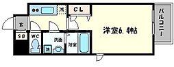 レジュールアッシュ大阪城北 2階1Kの間取り