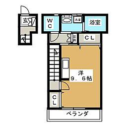 メゾン・ド・シフォン 2階ワンルームの間取り