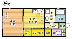 福岡県北九州市小倉北区下富野5丁目の賃貸アパートの間取り