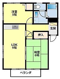愛知県豊田市豊栄町5丁目の賃貸アパートの間取り