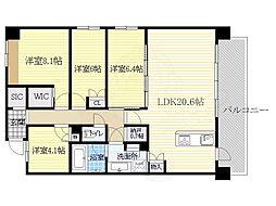 阪急千里線 南千里駅 バス12分 佐井寺北下車 徒歩6分の賃貸マンション 3階3SLDKの間取り