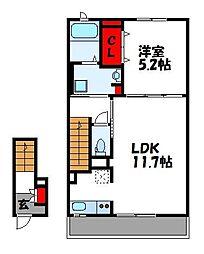 JR篠栗線 原町駅 徒歩5分の賃貸アパート 2階1LDKの間取り