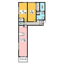 フレンズ6[2階]の間取り