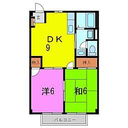 愛知県名古屋市緑区大高町字北大高畑の賃貸アパートの間取り