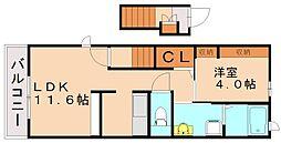 JR鹿児島本線 東福間駅 徒歩5分の賃貸アパート 2階1LDKの間取り