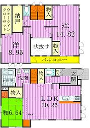 [タウンハウス] 千葉県鎌ケ谷市南初富1丁目 の賃貸【/】の間取り