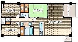 兵庫県神戸市灘区土山町3丁目の賃貸マンションの間取り