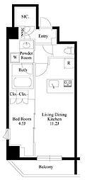JR山手線 御徒町駅 徒歩9分の賃貸マンション 6階1LDKの間取り