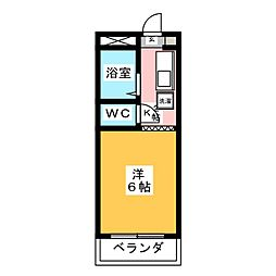 コーポ大桜II 3階1Kの間取り