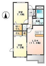 ラ・ビアージュ[1階]の間取り