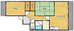 第9摂津グリーンハイツ[305号室]の間取り
