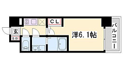 エスリード神戸兵庫駅マリーナスクエア 4階1Kの間取り