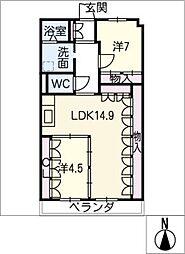 プラザ小幡404号室[4階]の間取り