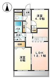 岡山県総社市小寺丁目なしの賃貸アパートの間取り