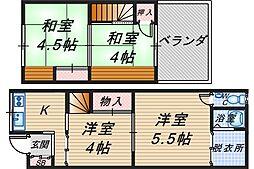 [テラスハウス] 大阪府豊中市服部寿町2丁目 の賃貸【/】の間取り