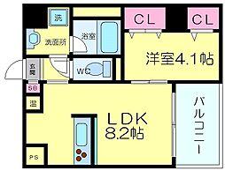 コルテビラージュ 3階1LDKの間取り