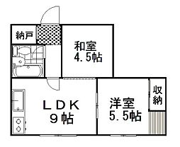 パールハイム 2階2DKの間取り