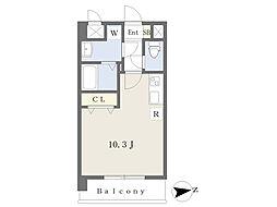 JR鹿児島本線 熊本駅 徒歩17分の賃貸マンション 6階ワンルームの間取り